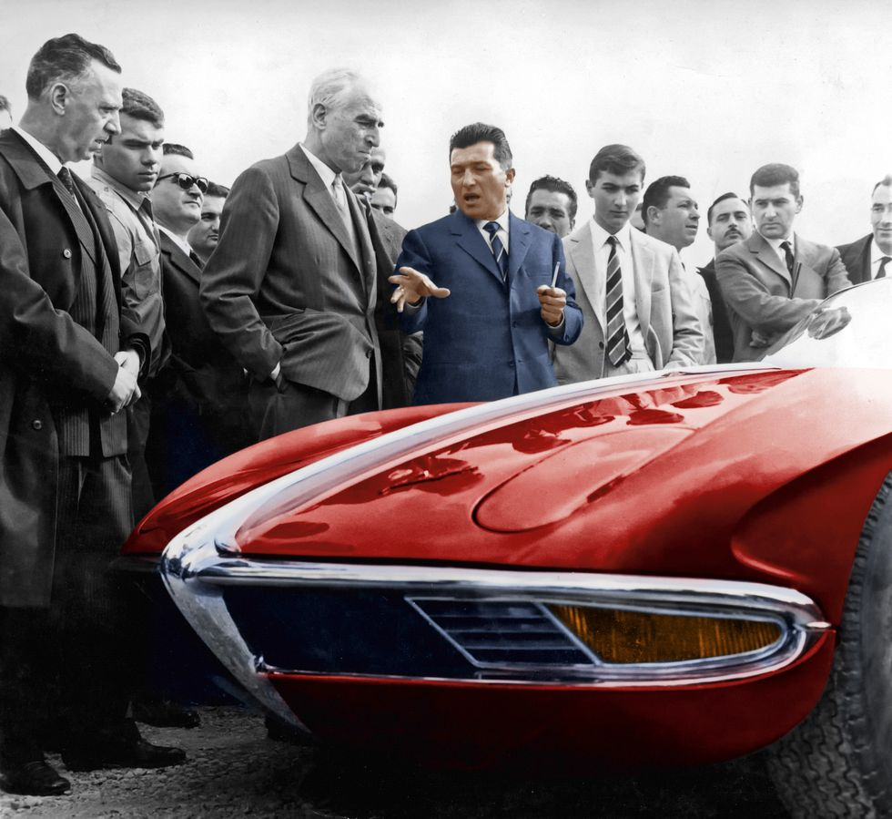 Ferruccio Lamborghini Showing His Car