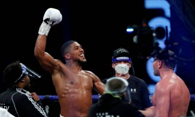 Anthony Joshua reacts to victory over Kubrat Pulev during the IBF, WBA, WBO and IBO World Heayweight Title fight