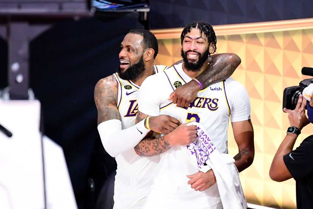Lebron James (left) and Anthony Davis (right) after winning the 2020 NBA Championship