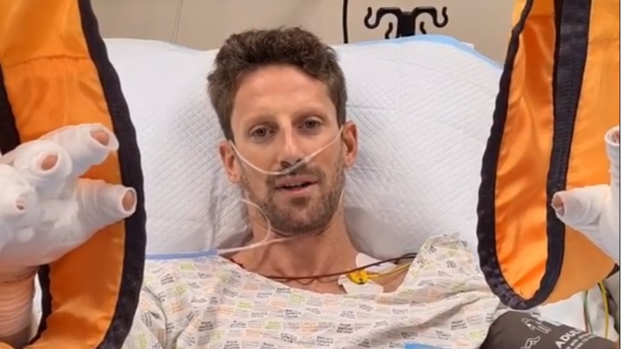 Romain Grosjean during his recovery in the hospital