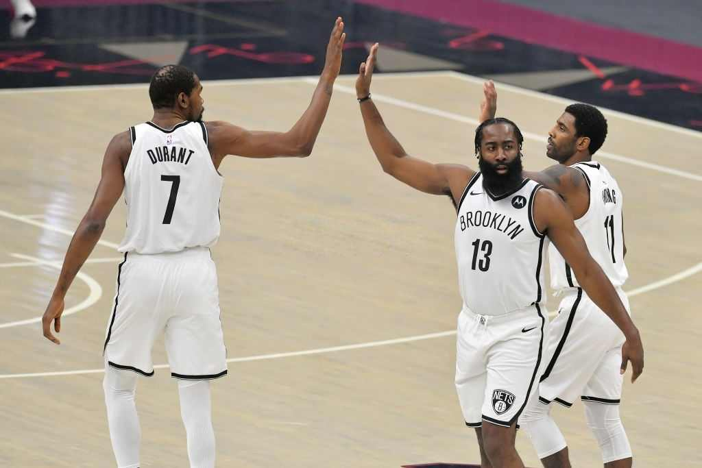 Kyrie Irving, James Harden, and Kevin Durant