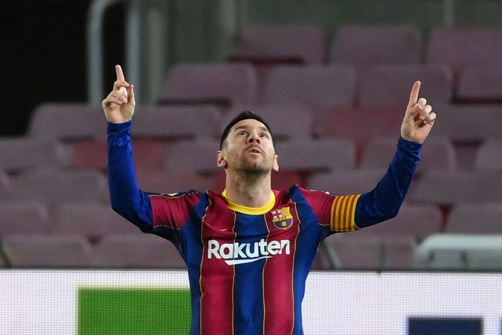 Leo Messi scores his 650th goal for his team Barcelona
