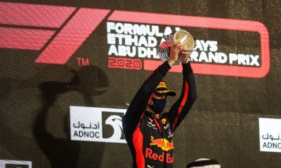 Max Verstappen with the trophy.