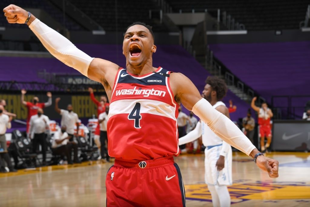 Russell Westbrook #4 of the Washington Wizards celebrates during the game against the Los Angeles Lakers