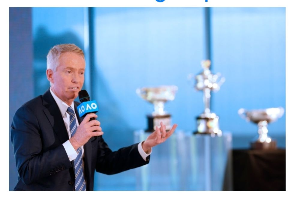 MELBOURNE, AUSTRALIA - OCTOBER 08: Australian Open Tournament Director Craig Tiley speaks to the media during the Australian Open 2020 Launch at Melbourne Park on October 08, 2019 in Melbourne, Australia. (Photo by Darrian Traynor/Getty Images)