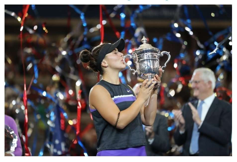 Bianca Andreescu of Canada poses with the championship trophy after winning the Women's Singles final match against Serena Williams of the United States on day thirteen of the 2019 US Open at the USTA Billie Jean King National Tennis Center on September 07, 2019 in the Queens borough of New York City. (Photo by Elsa/Getty Images)