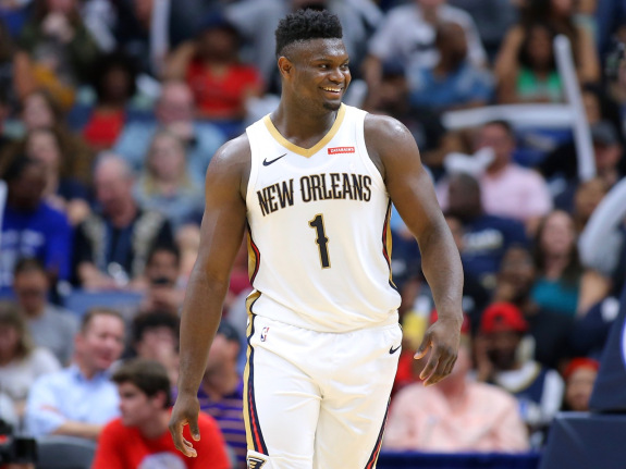 Zion Williamson #1 of the New Orleans Pelicans reacts during a game against the Utah Jazz