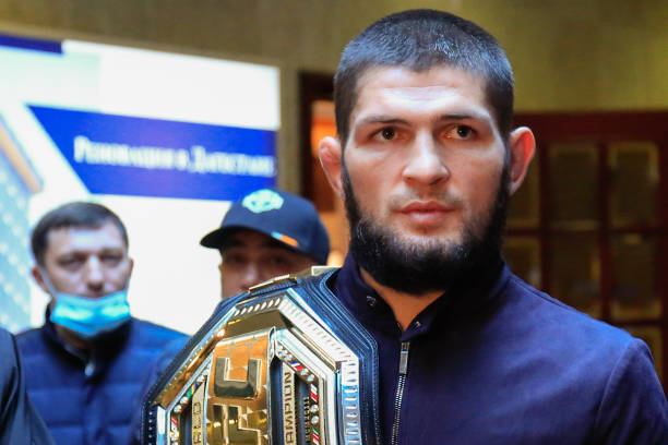 UFC Lightweight Champion Khabib Nurmagomedov is welcomed at a city airport in Russia.