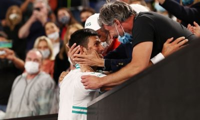 Novak Djokovic with his coach Goran Ivan