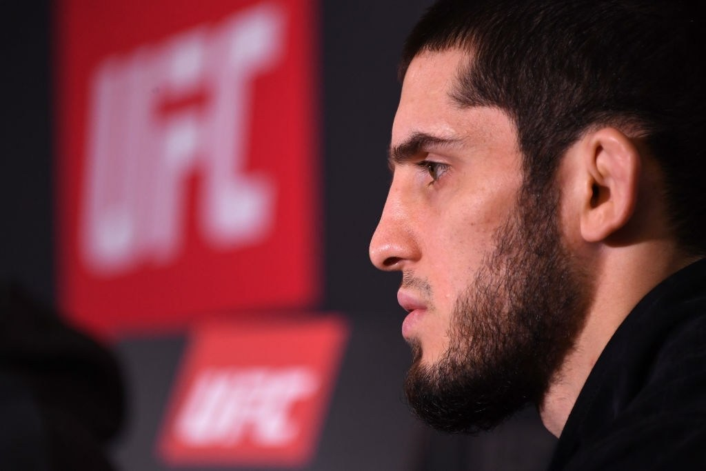 Islam Makhachev in a Press Conference in Russia.