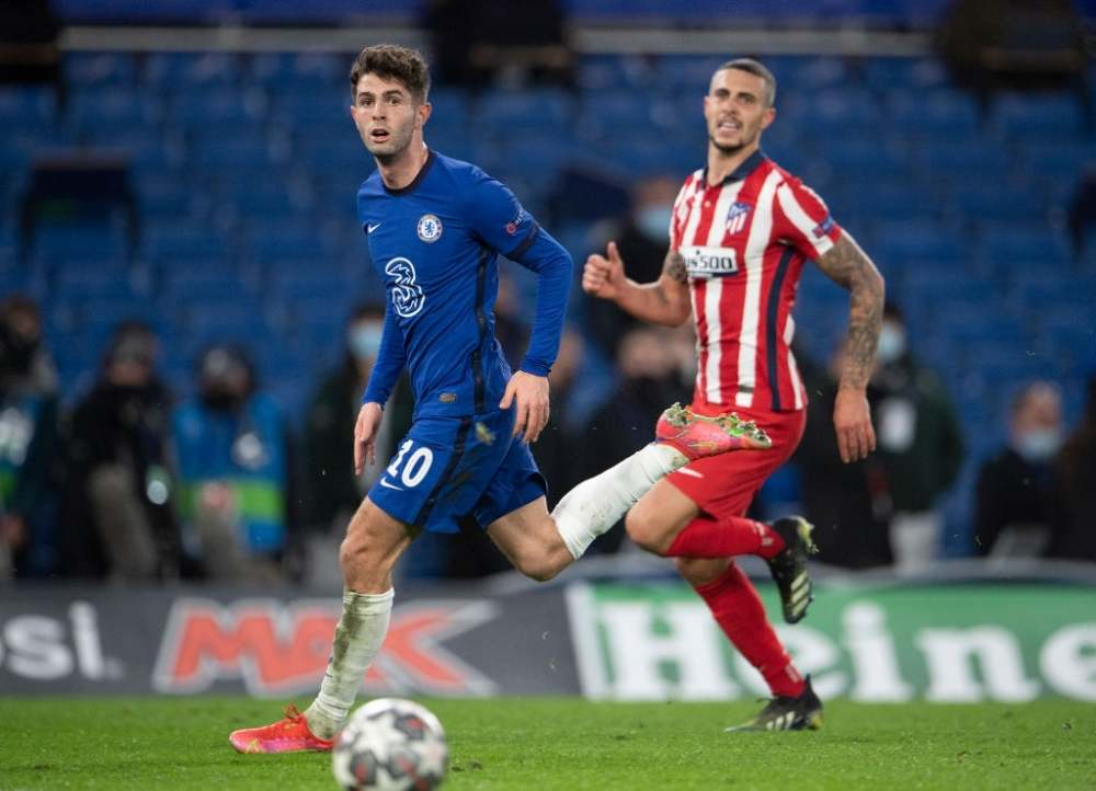Chelsea playing against Atletico Madrid.