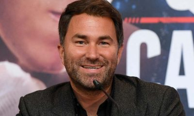 Promoter Eddie Hearn reacts during the Scott Quigg & Jono Carroll Press Conference