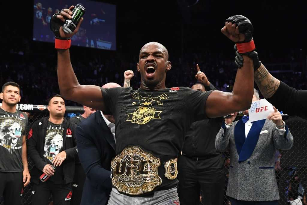 Jon Jones celebrates his KO victory over Alexander Gustafsson of Sweden.