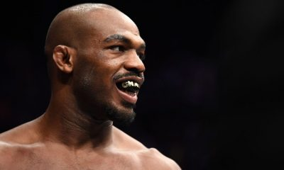 Jon Jones stands in his corner prior to his light heavyweight bout against Alexander Gustafsson of Sweden