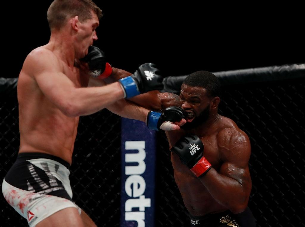 Tyron Woodley fights against Stephen Thompson during UFC 205.