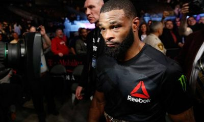 UFC welterweight champion Tyron Woodley, leaves the Octagon after his title defense against Stephen Thompson at UFC 209.
