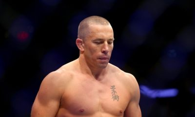 Georges St-Pierre of Canada enters the octagon for his UFC middleweight championship bout against Michael Bisping