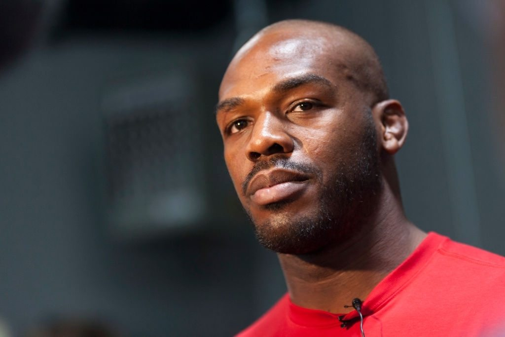 Jon 'Bones' Jones interacts with media during an open training session for fans and media at the Jackson's Mixed Martial Arts and Fitness