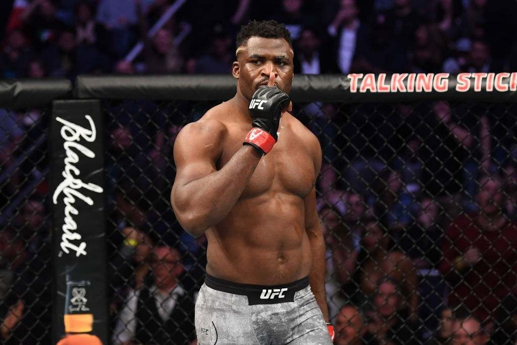 Francis Ngannou of Cameroon celebrates his KO victory over Cain Velasquez in their heavyweight bout during the UFC Fight Night event