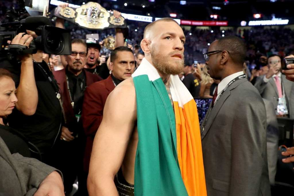 Conor McGregor walks to the ring prior to his super welterweight boxing match against Floyd Mayweather Jr. on August 26, 2017