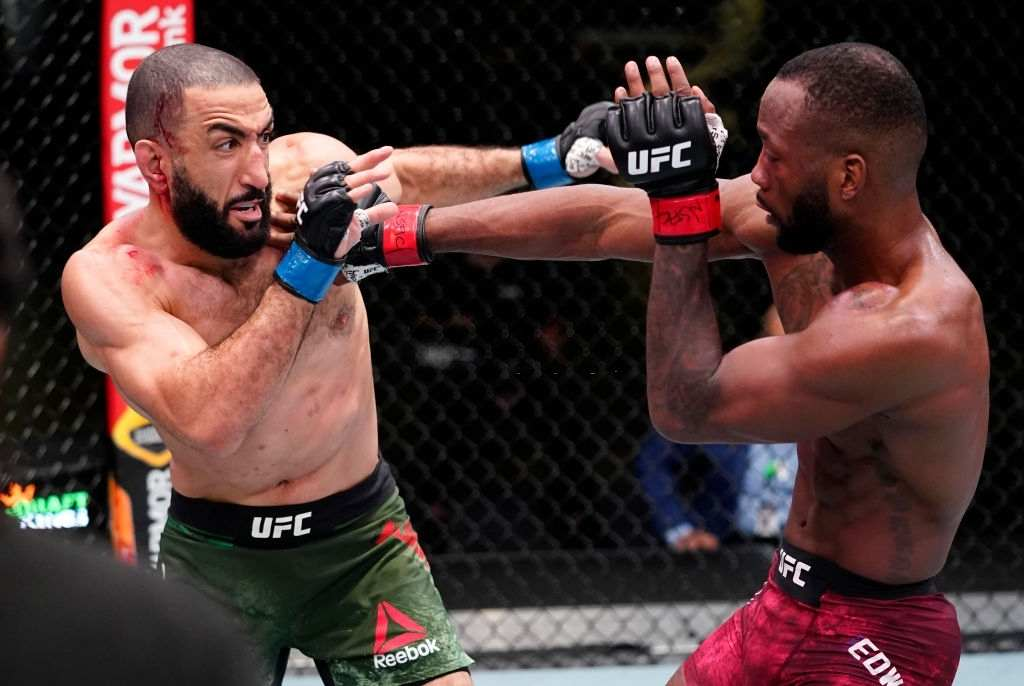 Leon Edwards of Jamaica battles Bulal Muhammad in a welterweight fight during the UFC Fight Night event at UFC APEX