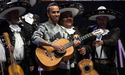 Lewis Hamilton behind the Wheel and the Guitar