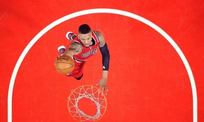 Damian Lillard #0 of the Portland Trail Blazers scores on a dunk in a 108-98 win over the Los Angeles Clippers