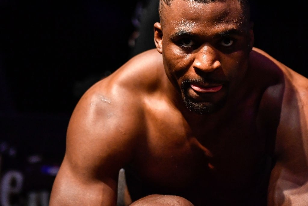 Francis Ngannou of Cameroon looks on after defeating Jair Rozenstruik (not pictured) of Suriname in their Heavyweight fight during UFC 249