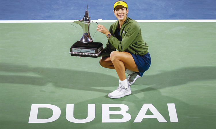 Garbine Muguruza has clinched her first WTA title for nearly two years after defeating Barbora Krejcikova