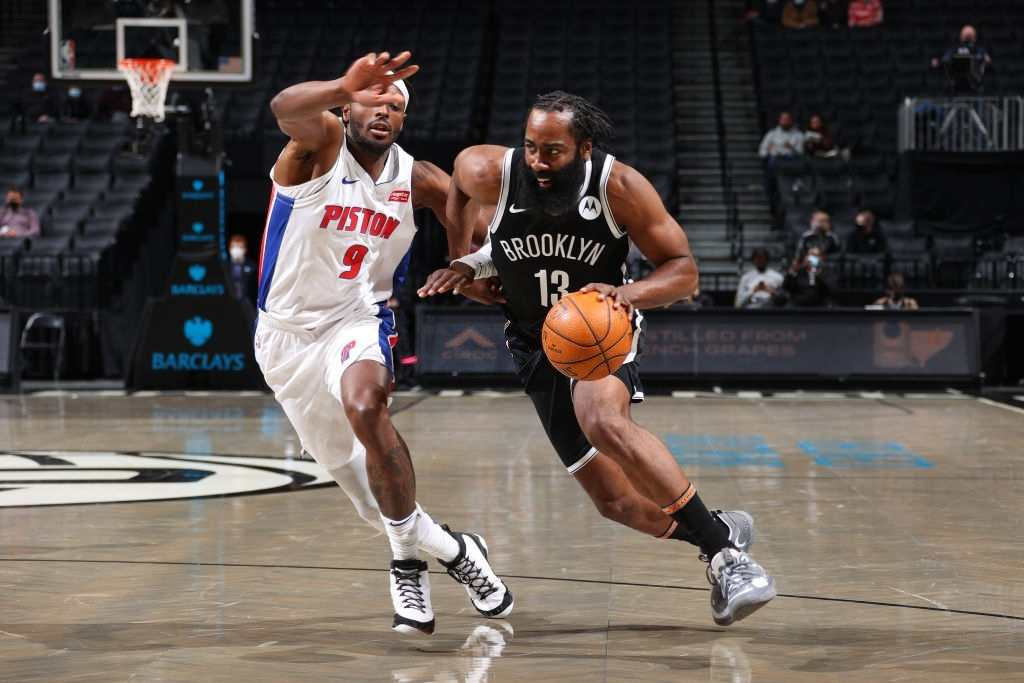 James Harden scored a triple-double against the Detroit Pistons on Saturday night.