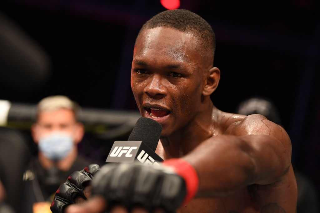 Israel Adesanya of Nigerian is interviewed after defeating Paulo Costa
