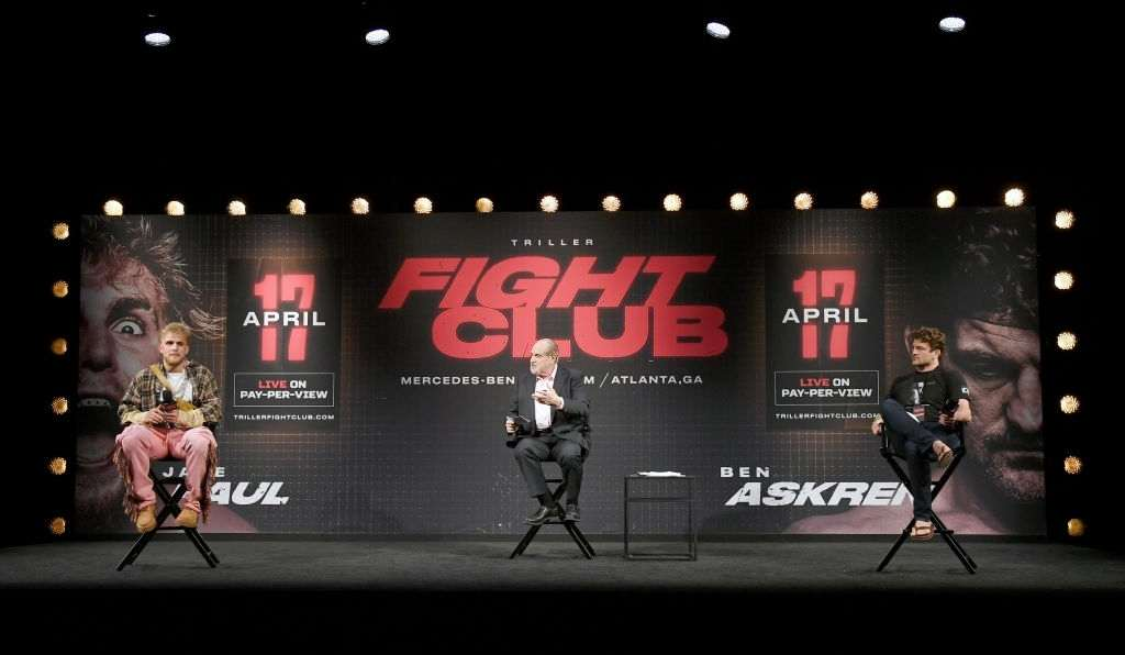 Jake Paul (L) and Ben Askren (R) during a news conference for Triller Fight Club's inaugural