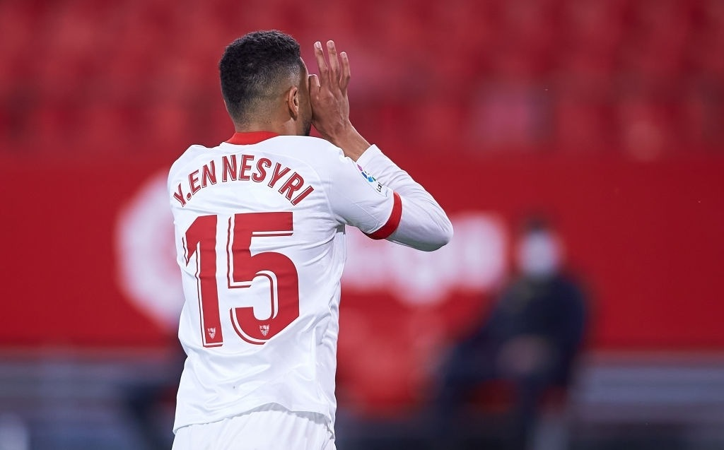Youssef En-Nesyri of Sevilla FC celebrates (Photo by Fran Santiago/Getty Images)
