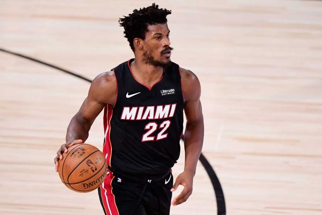 Jimmy Butler #22 of the Miami Heat controls the ball against the Los Angeles Lakers in the third quarter of Game Six of the 2020 NBA Finals