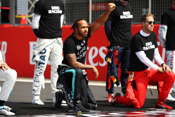 Lewis Hamilton led the anti racism demonstration held by F1 in 2020