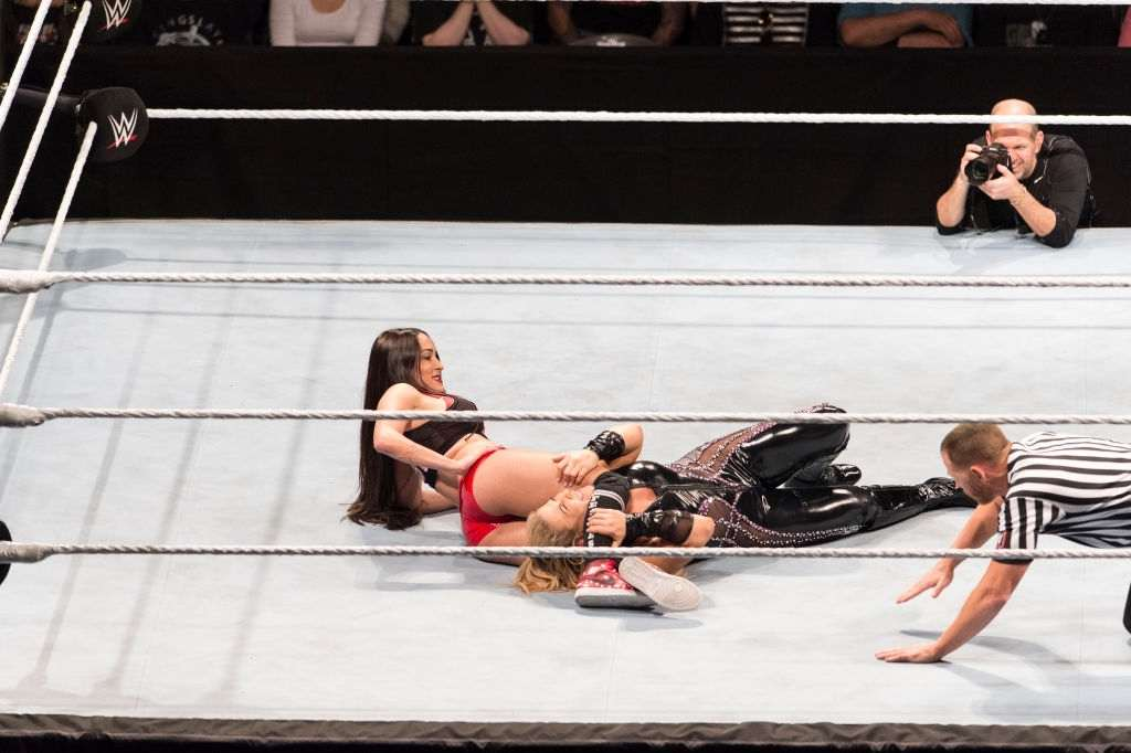 Nikki Bella competes in the ring against Natalya Moon during the WWE Live Show at Lanxess Arena on November 7, 2018