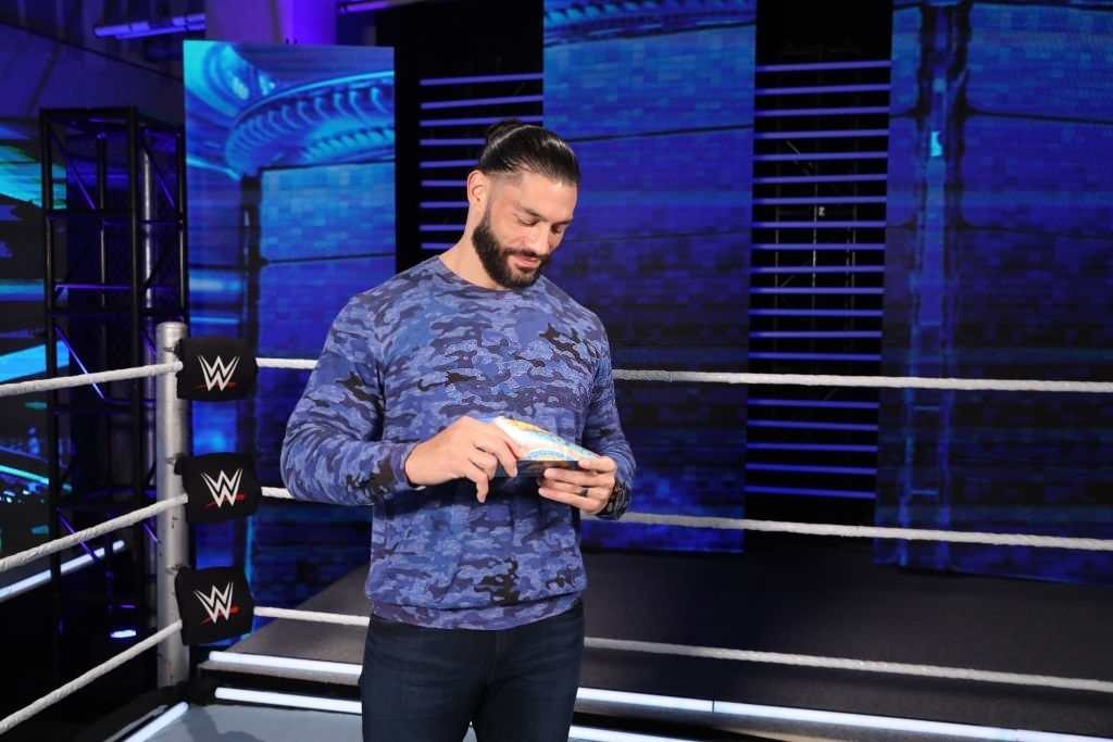 WWE Star Roman Reigns poses ahead of the MTV EMA's 2020 on October 30, 2020 in Orlando