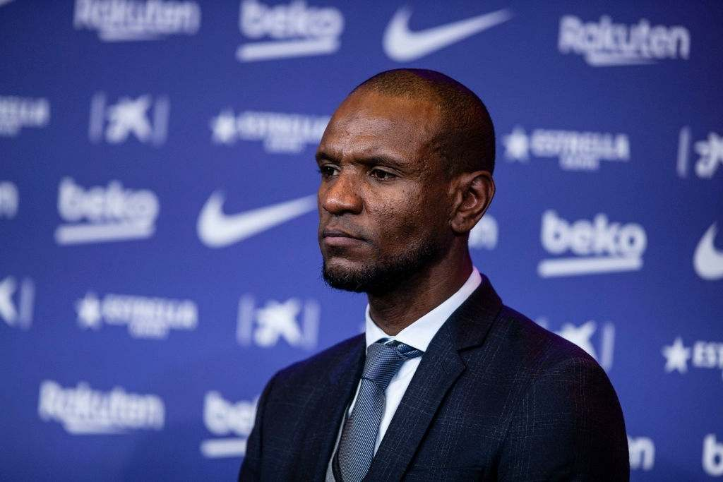 Eric Abidal during the presentation of Quique Setien as a new coach of FC Barcelona (Photo by Xavier Bonilla/NurPhoto via Getty Images)