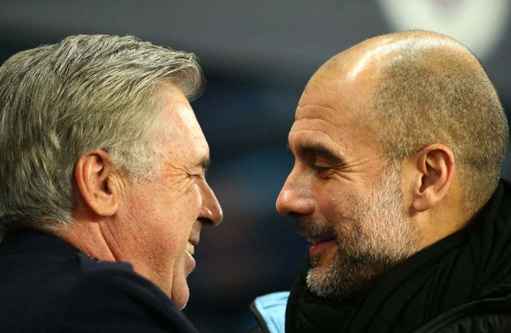 Everton manager Carlo Ancelotti greets Manchester City manager Pep Guardiola Manchester City v Everton - Premier League - Etihad Stadium 01-01-2020. (Photo by Dave Thompson/EMPICS/PA Images via Getty Images