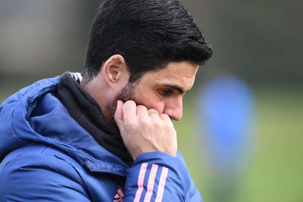 Arsenal manager Mikel Arteta during a training session at London Colney (Photo by Stuart MacFarlane/Arsenal FC via Getty Images)