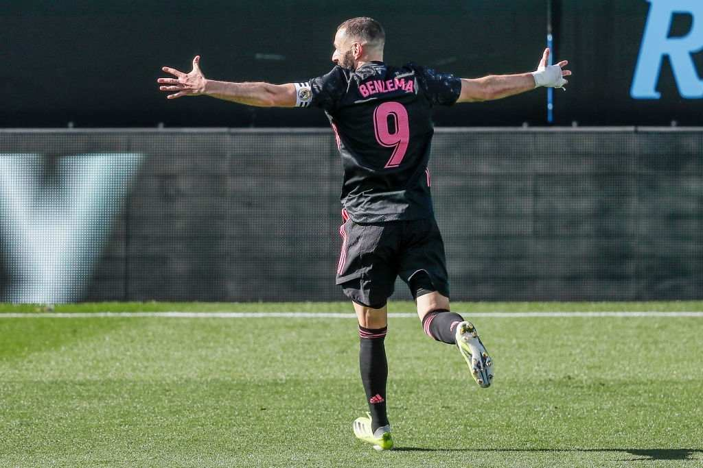 Karim Benzema of Real Madrid celebrates (Photo by David S. Bustamante/Soccrates/Getty Images)