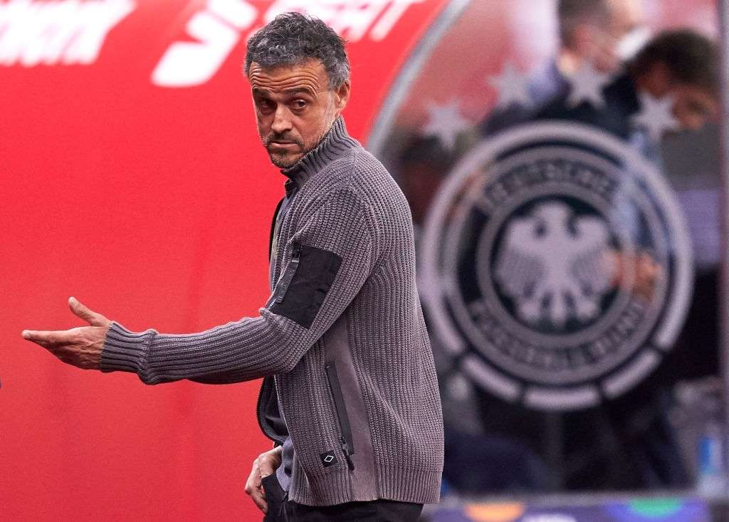 Luis Enrique, Manager of Spain reacts (Photo by Mateo Villalba/Quality Sport Images/Getty Images)