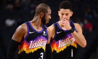 Chris Paul and Devin Booker of the Phoenix Suns