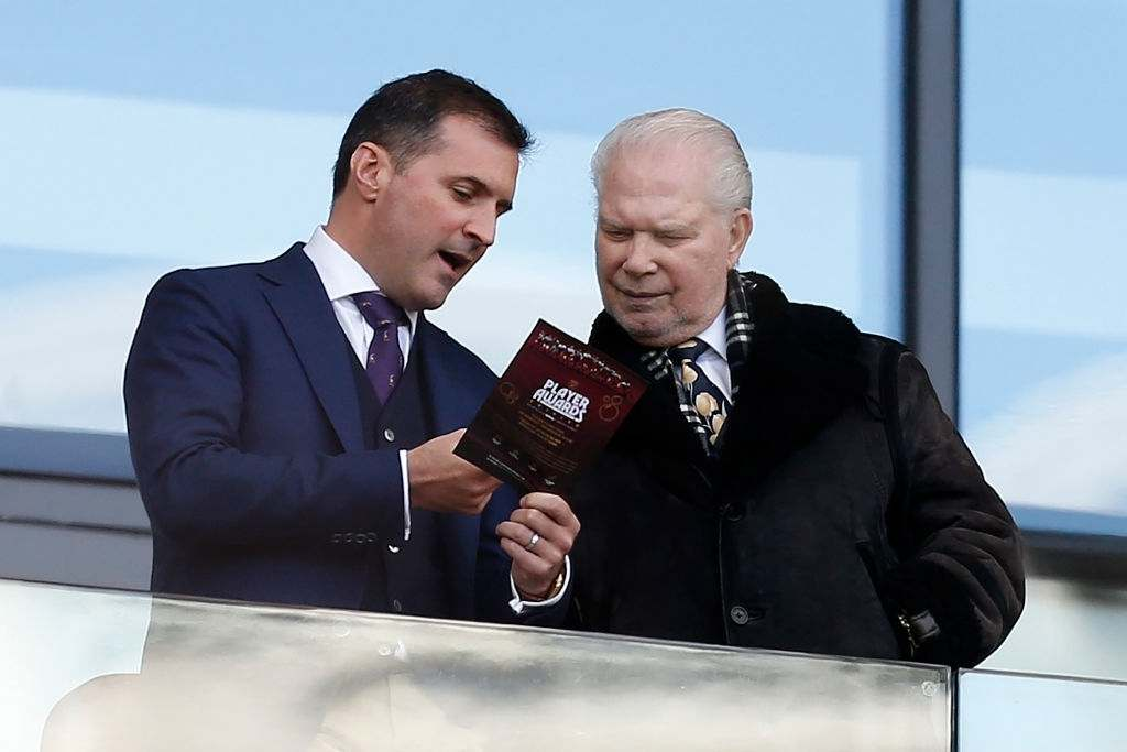 West Ham United's English Chairman David Gold (R) reacts ahead of the English Premier League football match between West Ham United and Southampton (Photo by IAN KINGTON/AFP via Getty Images)