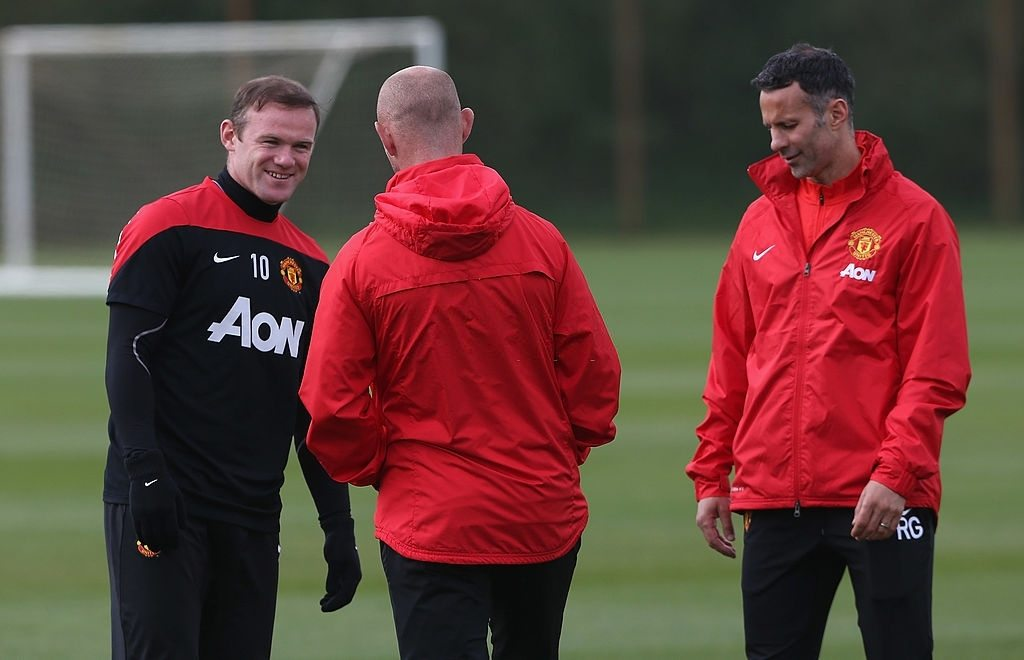 Interim Manager Ryan Giggs, First Team Coach Nicky Butt and Wayne Rooney of Manchester United (Photo by John Peters/Manchester United via Getty Images)