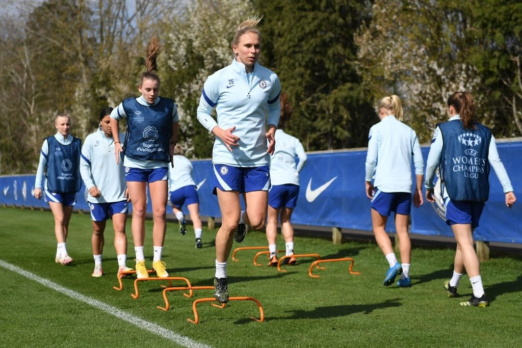 Jonna Andersson of Chelsea in action during a Chelsea FC Women's Training Session (Photo by Harriet Lander - Chelsea FC/Chelsea FC via Getty Images)