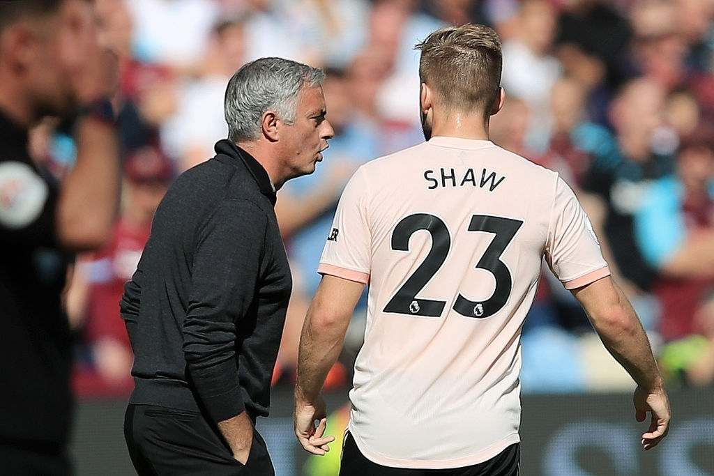 Manchester United manager Jose Mourinho gives instructions to Luke Shaw (Photo by Marc Atkins/Getty Images)