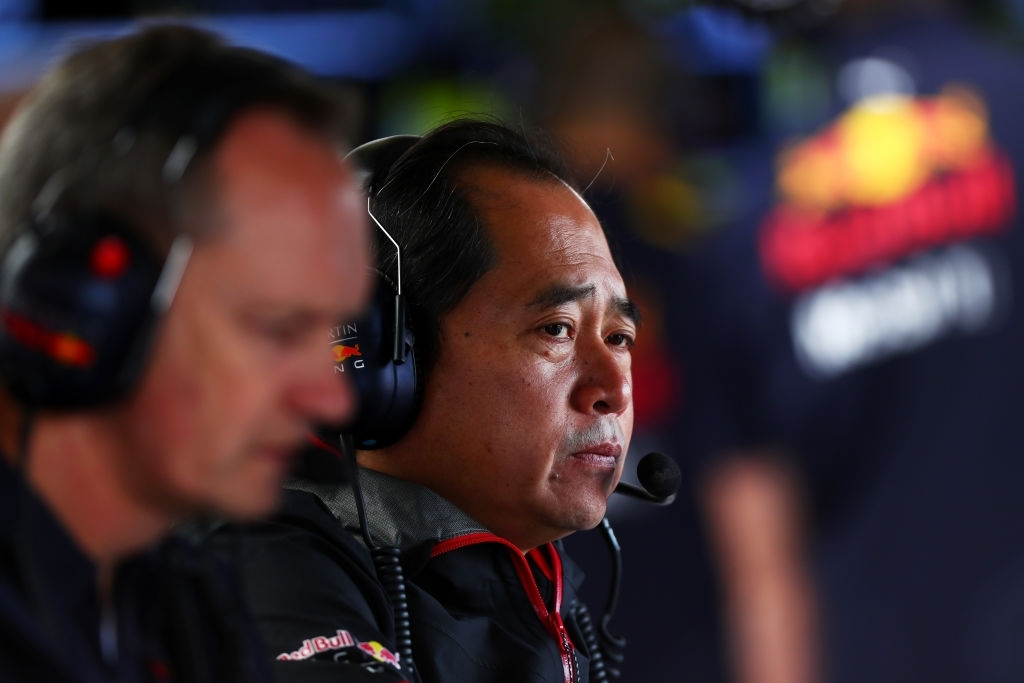 Honda boss Toyoharu Tanabe at the garage of Red Bull Racing in Silverstone