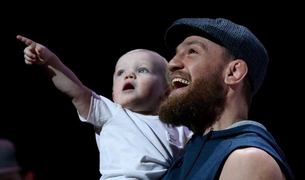 Conor McGregor and his son Conor Junior during open workouts at the Park Theater ahead of UFC 229 in Las Vegas