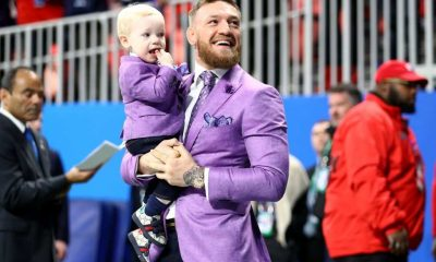 Conor McGregor and Conor McGregor Jr. attend Super Bowl LIII between the New England Patriots and the Los Angeles Rams